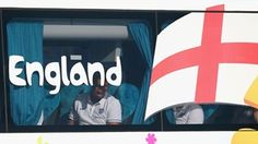 Chris Smalling of England sits on the team bus after arriving into Rio de Janeiro