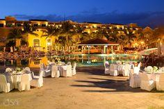 Destination wedding reception set-up at @secretsresorts in the Riviera Maya, Secrets Capri. Mexico wedding photographers Del Sol Photography.