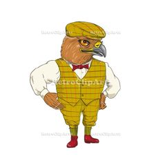 Hawk English Outdoorsman Drawing Vector Stock Illustration Drawing sketch style illustration of a Hawk English Outdoorsman wearing cheese cutter hat cap, vest, bow tie with hands on hips done in cartoon style. Hands On Hips, Retro Illustrations, Drawing Sketches, Drawings, Vector Stock, Cartoon Styles, Retro Fashion, Vest, Bows