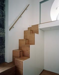 Boyarsky Murphy Architects - some stairs I detailed! Boyarsky Murphy Architects - some stairs I detailed! Small Space Staircase, Staircase Storage, Loft Stairs, House Stairs, Staircase Design, Interior Stairs, Interior Design Kitchen, Interior Design Living Room, Home Office Design