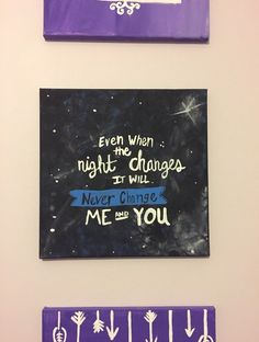 A hand painted square canvas with One Direction Night Changes lyrics. One Direction Crafts, One Direction Room, One Direction Drawings, One Direction Interviews, One Direction Lyrics, One Direction Humor, Canvas Painting Quotes, Small Canvas Paintings, Mini Canvas Art