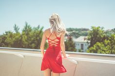 Young Blonde Woman Looking Around on Terrace Free Stock Photo Download | picjumbo