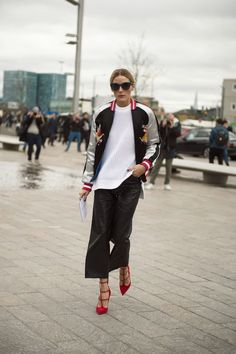 Celebrity Style I Olivia Palermo I style icon I street style I fashion week outfit inspiration I red & silver metallic baseball jacket I red strappy heels I pointy pumps I leather cullottes I trend @monstylepin