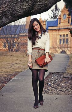 tweed skirt, sweater & tights-- longer skirt though