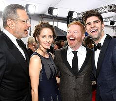 Jeff Goldblum and wife Emilie Livingston cracked up with Jesse Tyler Ferguson and husband Justin Mikita outside L.A.'s Shrine Auditorium for the SAG Awards Jan. 25.
