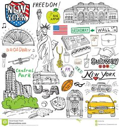 New York city doodles elements. Hand drawn set with taxi coffee hotdog statue of liberty broadway music coffee newspaper. Illustration about high illustration - 59784768 Nyc Drawing, New York Drawing, Drawing Hands, Bullet Journal Travel, Bullet Journal Ideas Pages, Statue Of Liberty Drawing, New York Illustration, New York Journal, New York Taxi