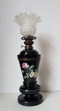 Antique French Black Opaline Glass - Oil Lamp - with hand painted Antique Light Fixtures, Antique Lamps, Antique Lighting, Old Antiques, French Antiques, Hurricane Oil Lamps, Pickle Jars, Black Lamps, Fenton Glass