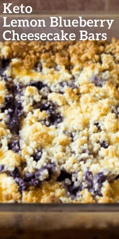 My Keto Lemon Blueberry Cheesecake in a handheld bar topped with crumb topping. This is light and refreshing with hints of lemon and bursts of blueberries. The vibrant flavors in this keto cheesecake Low Carb Sweets, Low Carb Desserts, Low Carb Recipes, Soup Recipes, Diet Recipes, Blueberry Recipes Low Carb, Easter Keto Recipes, Free Keto Recipes, Thanksgiving Recipes