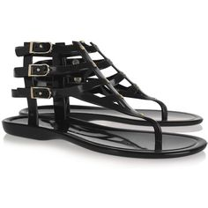 Jimmy Choo Margot rubber gladiator sandals ($151) ❤ liked on Polyvore featuring shoes, sandals, flats, black, rubber sandals, black flats, gladiator sandals shoes, buckle sandals and ankle wrap sandals