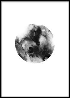 En plakat med mørkt grafisk mønster
