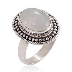 925 Oxidized Sterling Silver Natural Moonstone Gemstone Oval Rope Edge Vintage Band Ring Size 7 ** For more information, visit image link.