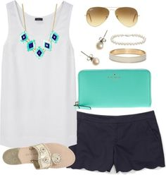 OOTD by classically-preppy featuring a cord bracelet ❤ liked on PolyvoreJoseph sleeveless tank / Club Monaco / Jack Rogers flat shoes / Kate Spade leather wallet / Kate Spade jewelry / J.Crew pearl earrings / Blue Nile cord bracelet / Ray-Ban aviator sunglasses