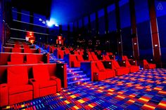 Amazing Cinema Around The World Newport, Swimming Pool House, Swimming Pools, Resorts World Manila, Cinema Architecture, Gymnastics Gym, Acoustic Wall, Theatre Design, Chick Flicks
