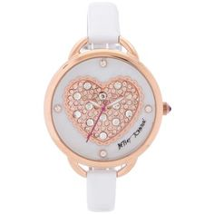 Betsey Johnson Women's White Leather Strap Watch 39mm BJ00067-28