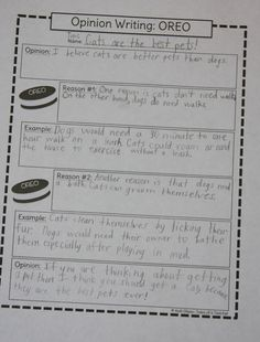 A Learning Journey: O is for Oreo Opinion Organizer: Persuasive Writing