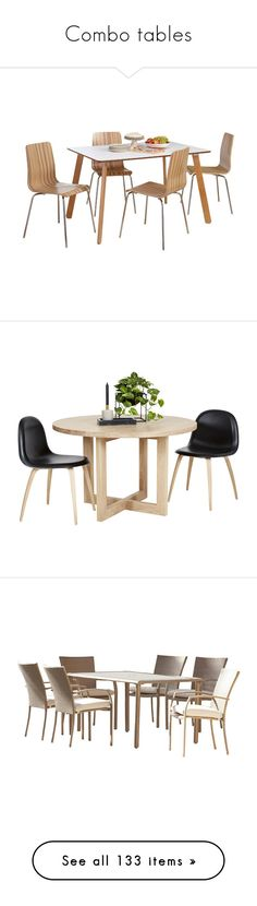"""Combo tables"" by yblacasa ❤ liked on Polyvore featuring home, furniture, tables, dining tables, home wood furniture, oak dining table, oakwood furniture, oak table, timber dining tables and home decor"