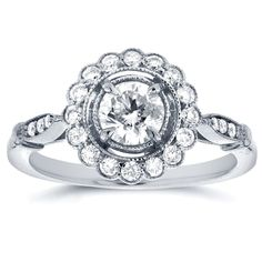 Annello by Kobelli 14k White Gold 3/4ct TDW Floral Antique Diamond Ring (H-I, I1-I2) (Size 6.5), Women's