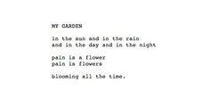 Charles Bukowski - my garden