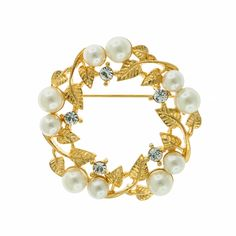"Pearl & Crystal Wreath Brooch, Gold Plate, 1 3/4"" across"