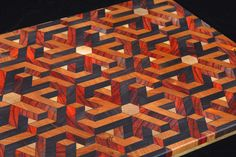 3D Geometric Illusion End Grain Cutting Board/Serving Tray