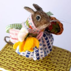 Original Needle Felted Mouse with Buttercups , Daisies and Strawberry By Miss Bumbles