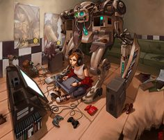 I wish I could work sitting on the floor.  The Workstation 2 by ~Jujika