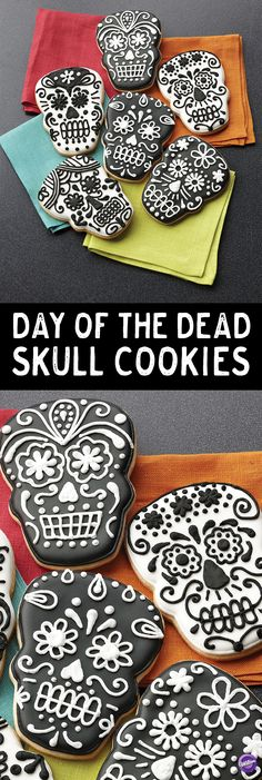 How to Make Day of the Dead Skull Cookies - Celebrate the departed with these lively color flow skull cookies! The Wilton Skull Comfort Grip Cutter creates the traditional shape and the black and white designs feature combinations of easy techniques for an unforgettable look.