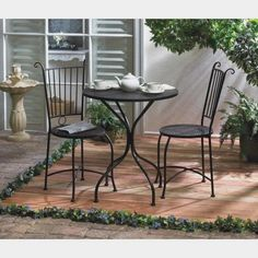 92a3b91b8bb3 Details about Lovely patio 3-pc Set Dine Table W/ 2 Chairs Outdoor Terrace  Furniture