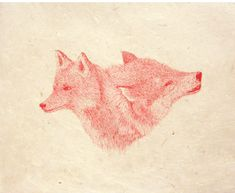 masako miki - red ink on paper