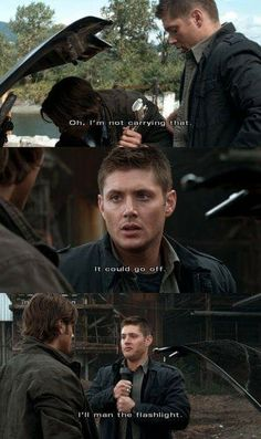 This was the most funny episode out of the whole series. I love Jensen he's perfect for Dean