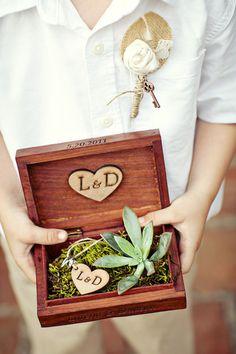 Une jolie boîte en bois remplie de mousse