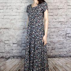 90s Vintage Soft Grunge Dress Floral Rayon Midi by poetryforjane, $27.00