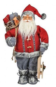Santa Claus Weihnachtsmann Nikolaus Figur stehend Weihnachten Advent Deko