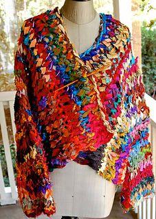 Ravelry: Peruvian Sari Silk Ribbon Jacket pattern by Cheryl Oberle - don't know why it's considered Peruvian Freeform Crochet, Crochet Shawl, Knit Crochet, Crochet Cardigan, Ribbon Projects, Yarn Projects, Ribbon Yarn, Silk Ribbon, Seda Sari