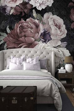 Floral Wallpaper Flowers of a black background Temporary Wallpaper Loft design Removable wallpaper Mural Wallpaper Watercolor Wallpaper, Flower Wallpaper, Wall Wallpaper, Bedroom Wallpaper, Black Floral Wallpaper, Wallpaper Ideas, Trendy Wallpaper, Vintage Floral Wallpapers, Emoji Wallpaper