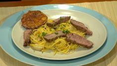 Špagety na hubách s hovädzími rezancami