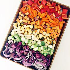 Roasted rainbow root vegetables.