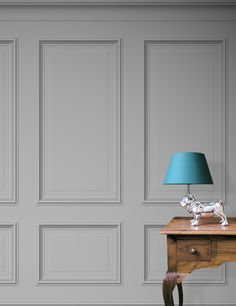 http://shufflebotham.com/wallpaper/benjamin-xl-panelling-light-grey/ Bespoke Panelling Wallpaper 'Benjamin' XL printed on demand (7-14 days lead time) available in 3 standard stock colours (Medium Grey, light grey and clay). The design features full sized Georgian wood panels printed on a textured embossed vinyl.