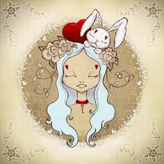Alice by Ribonita & Chocolat Pencil Illustration, Heart Art, Alice In Wonderland, Amazing Art, Art Drawings, Character Design, Art Prints, Disney, Artwork