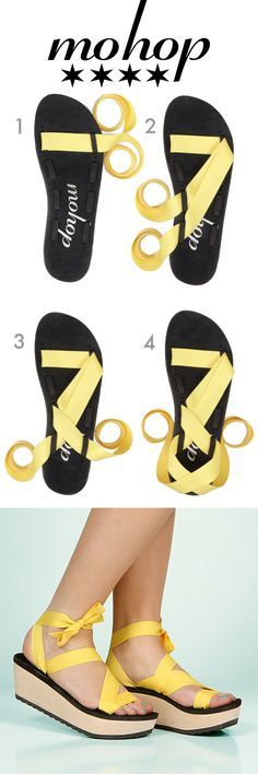 82bdc59c320 Mohop Styling Cards - How to Tie - Ribbon Sandal Inspiration