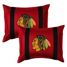 2pc NHL Chicago Blackhawks Pillow Shams Hockey Logo Bedding