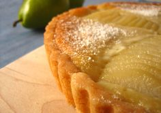 Pear and Almond Frangipane Tart.  So happy to have found this recipe because it's a total crowd pleaser.  If you like marzipan, you will LOVE this recipe.  For the crust, I substituted a traditional pastry dough recipe.