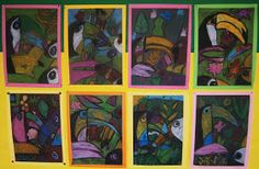 Art with Mrs Baker: Grade 1/2 Oil Pastel Toucans