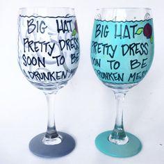 KY Derby Wine Glass Big Hat Pretty Dress Drunken by AudraStyleArt