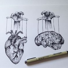 Heart vs Brain. Who manipultaes? And Why? I wish my brain had a map to tell me where my heart should go. #ink #tattoo #drawing #alfredbasha #illustration