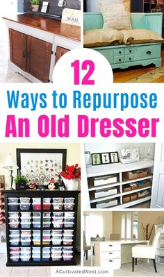 12 Clever Ways to Repurpose a Dresser- If you have an old dresser, it could be turned into something new, useful, and beautiful! For inspiration, check out these 12 clever ways to repurpose an old dresser! Diy Dresser Makeover, Furniture Makeover, Diy Furniture, Furniture Projects, Old Dresser Drawers, Old Dressers, Dresser Ideas, Upcycled Furniture Before And After, Home Command Center