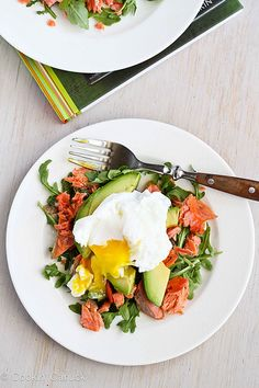 Heaven on a plate! Poached Eggs Over Avocado & Smoked Salmon.