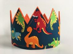 Orange Dinosaur Crown Dinosaur birthday Dinosaur party hat