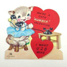 Cute little cat talking on the phone ~ vintage Valentine
