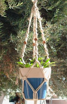 Macrame Plant Hanger 28In Beaded Button Knot Pearl